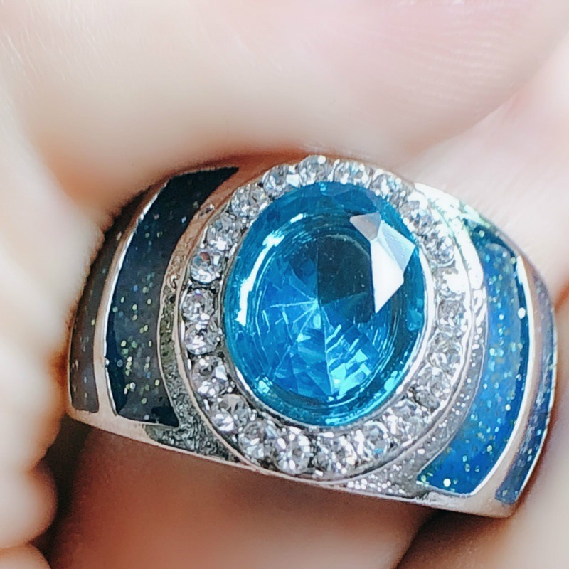 Luxury Oval  925  Silver Ring 5A Zircon Blue Stone Cz Engagement Wedding Band Ring For Women Men Jewelry Sapphire Gemstone Ring