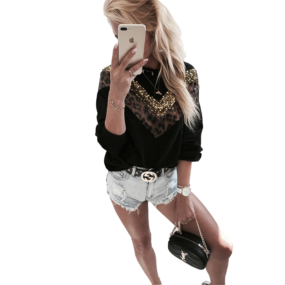 Women Sequined Blouse Autumn Casual Knitted Leopard Patchwork Ladies Jumper Tops And Blouse Long Sleeve O Neck Slim Top Femme