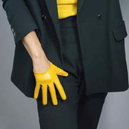 여자 패션 옐로우 컬러 섹시 슬림 가짜 pu 가죽 장갑 레이디의 클럽 성능 공식 파티 가죽 짧은 장갑 r2094