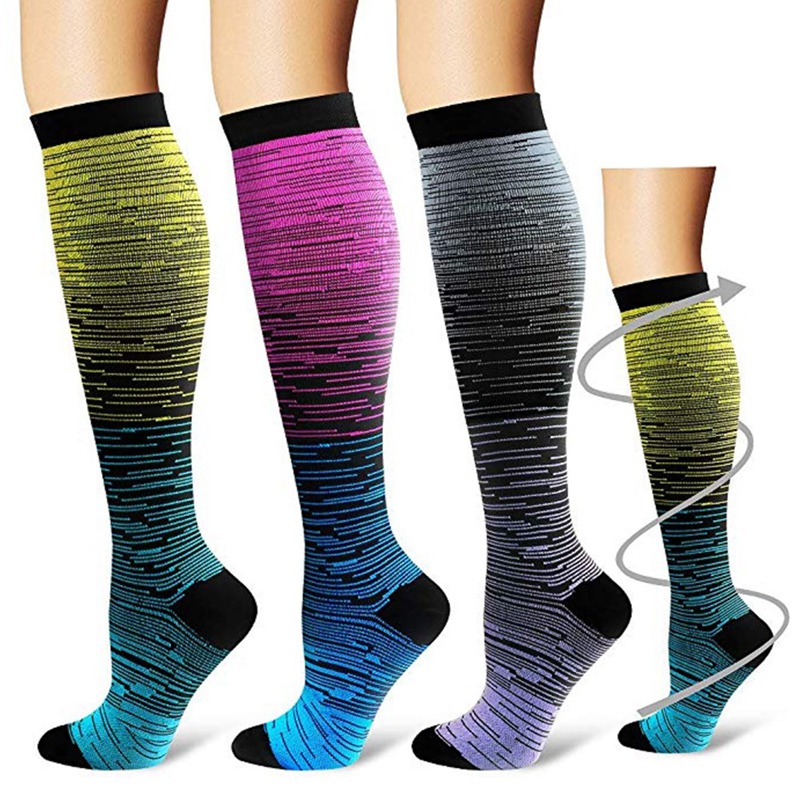 Socks Sport For Men Women Compression Gradient Color Mixing Socks Knee High/Long Nylon Hosiery Footwear Accessories S-XL Blue