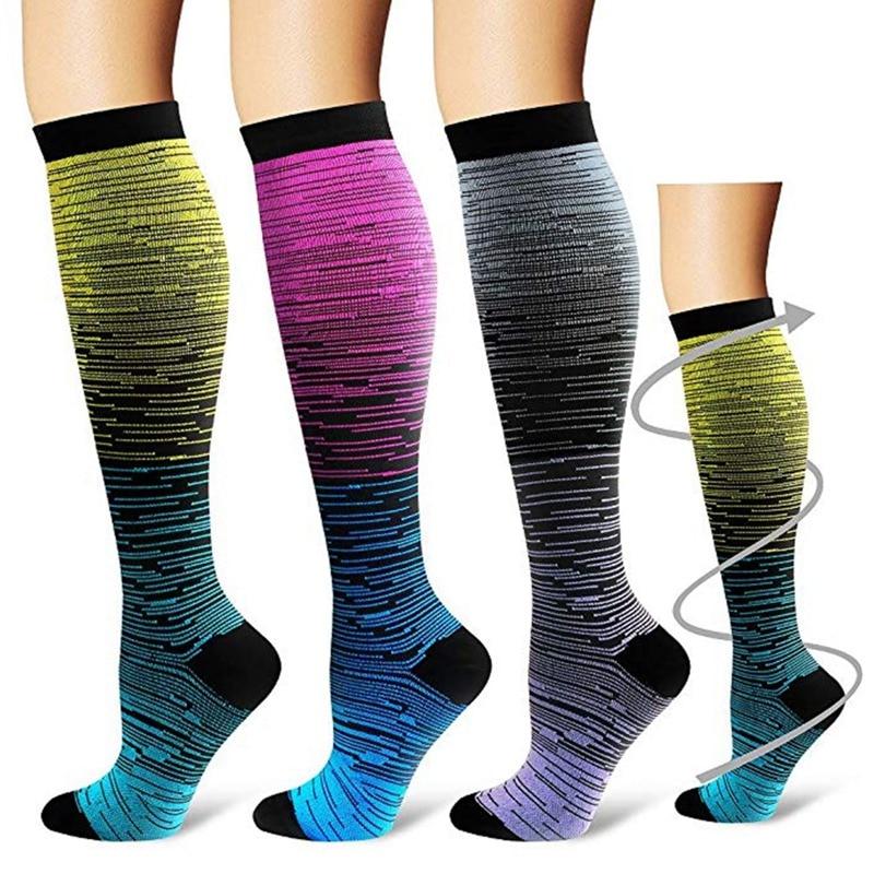 Socks Sport For Men Women Compression Gradient Color Mixing Socks Knee High/Long Nylon Hosiery Footwear Accessories S-XL Blue