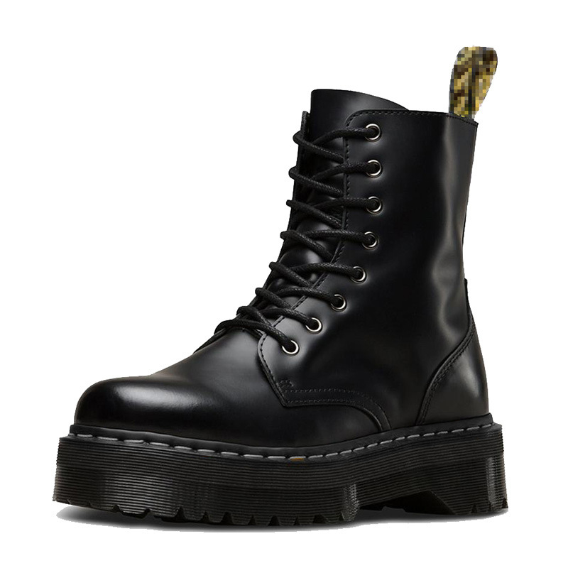 Femmes noir Martin bottes en cuir véritable bottes pour femmes bottines Punk Dr moto talon épais plate-forme Martens chaussures d'hiver