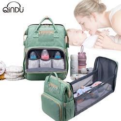 2in1 bébé couches sacs voyage Portable grande capacité épaule maman nouveau-né nappypliant berceau sac à dos étanche élégant