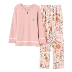 Image 5 - Outono inverno mulher pijamas casa roupas plus size pijamas conjunto de manga longa pijamas para mulher conjuntos 100% algodão
