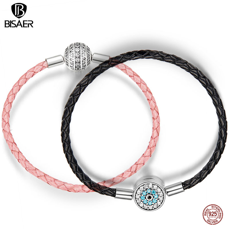 BISAER Echt 925 Sterling Silber Rosa Seil Leder Armbänder für Frauen Klar CZ Runde Verschluss Seil Armbänder Silber Schmuck ECB114