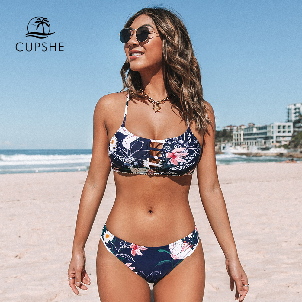 CUPSHE Navy Floral Cut Out Bikini Sets Sexy Low-waisted Buttons Swimsuit Two Pieces Swimwear Women 2020 Beach Bathing Suits