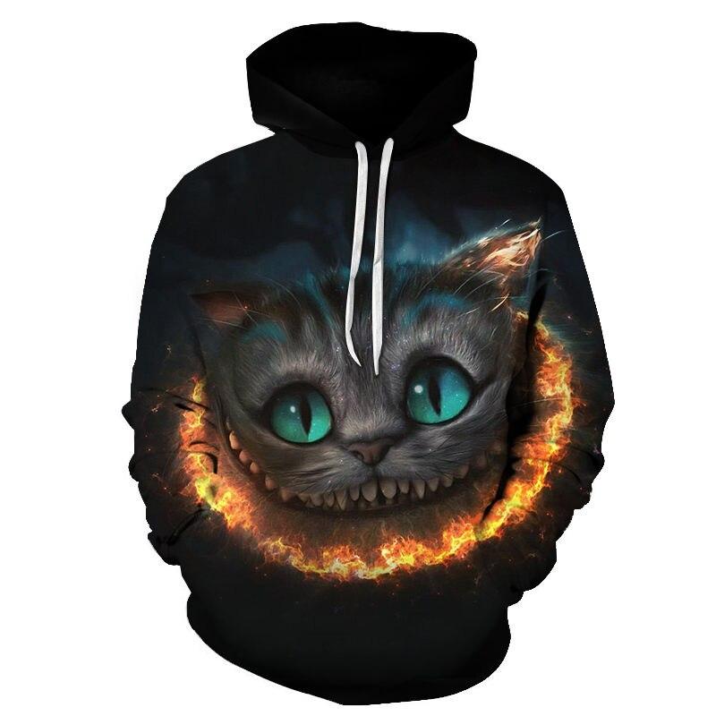 Women's Two Cat Sweatshirts Long Sleeve 3D Hoodies Sweatshirt Pullover Tops Blouse Pullover Hoodie Poleron mujer Confidante Tops 83