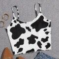 Женский летний топ на бретельках с коровьим принтом, сексуальные укороченные топы с открытой спиной, обтягивающие майки, топы, Клубная одеж...