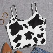 Mulheres verão vaca impressão halter cinta colete sexy sem costas colheita topos tanques magros topos clubwear meninas bralette leopardo camisola