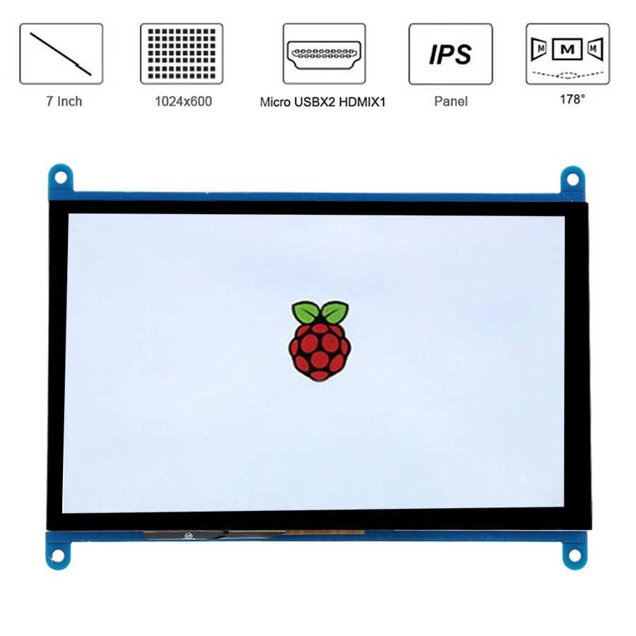 Monitor LCD de 7 pulgadas 1024*600 HDMI TFT pantalla táctil Ips ángulo de visión completo para Raspberry Pi para Windows/Ubuntu Raspbain