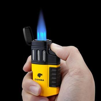 Cohiba zapalniczka cygarowa 4 latarka płomień odrzutowca wielokrotnego napełniania z dziurkaczem akcesoria do palenia narzędzie do palenia przenośna zapalniczka gazowa tanie i dobre opinie CN (pochodzenie) H165 Plastic Windproof cigar 4 Torch Flame Jet