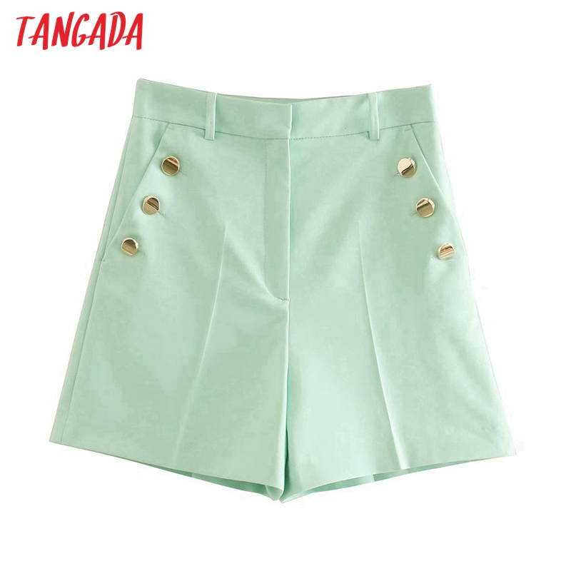 Tangada women candy color green buttons shorts zipper pockets female retro casual shorts pantalones 4M214 1