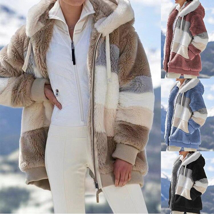 Women Jacket Fashion Patchwork Plush Zipper Hooded Coat Outwear Winter Warm Faux Fur Pocket Loose Parka Female Coat Plus Size 1