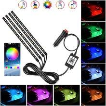 Car Led RGB Atmosphere light RGB bluetooth APP colorful light with USB/cigarette lighter light bar