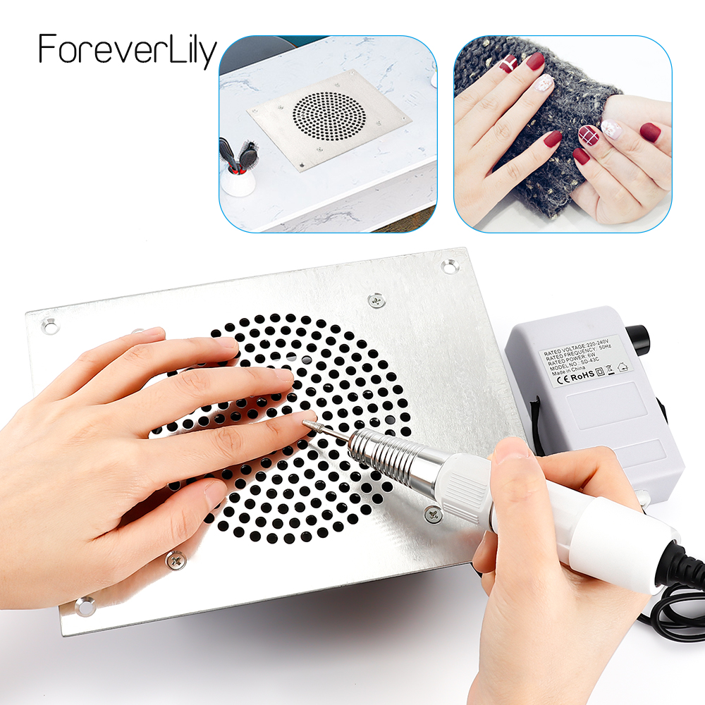 40000RPM Nail Dust Collector Desktop Built In Machine Suction Vacuum Fan Cleaner 3 Collecting Bag Nail Art Vacuum Cleaner Fan