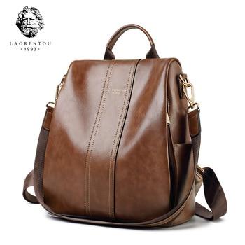 LAORENTOU Women Backpacks Genuine Leather Knapsack Female Retro Backpack School Bag Soft Fashion Vintage Shoulder Bags 9113046L