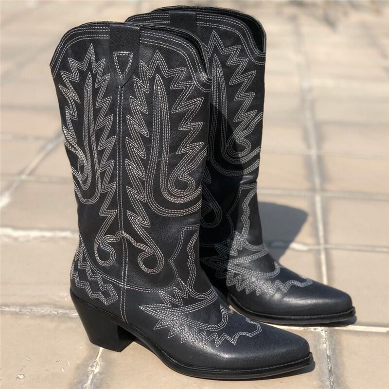 Genuine-Leather-Knee-High-Boots-Women-Pointed-Toe-Embroidery-Square-High-Heel-knight-Boots-Ladies-Fashion (2)