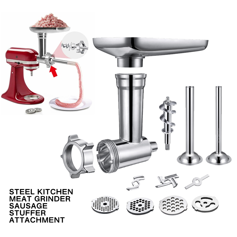 Steel Kitchen Meat Grinders Sausage Stuffer Attachment For Kitchen Aid Stand Mixer Kitchen Appliances Kitchen Dining Bar Parts
