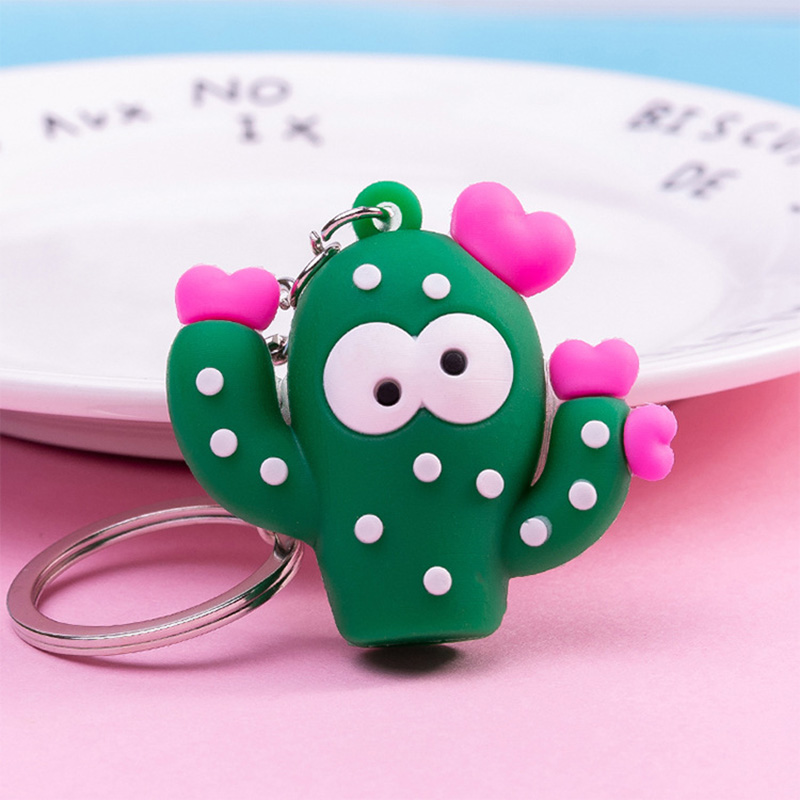 Cute 3D Simulation Green Plant Cactus Potted Keychain Women Girls Lovers Key Ring Gift Bags Decoration Pendant Couple Key Chain