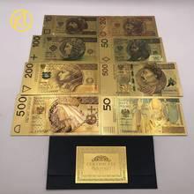 Novo 8 pc/lote 10-500 pln para um conjunto de ouro colorido folha cédula polónia cartão de plástico lembrança