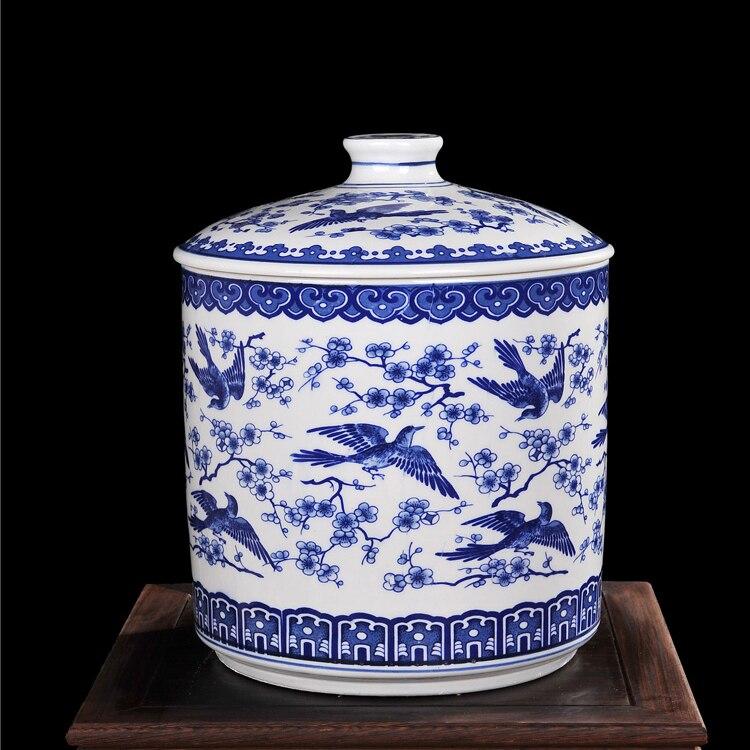 Большой размер роскошный и Ретро дизайн синий и белый Кухня Керамическая Канистра с крышкой, для хранения пищи контейнер для кофе чай и СУГА