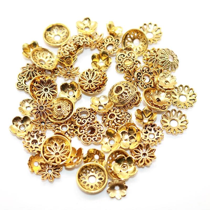 Διάφορα Κοσμήματα Λουλουδένια Τύπου Θιβέτ Αντικέ diy Συσκευασία 50 Η 100 Τεμάχια