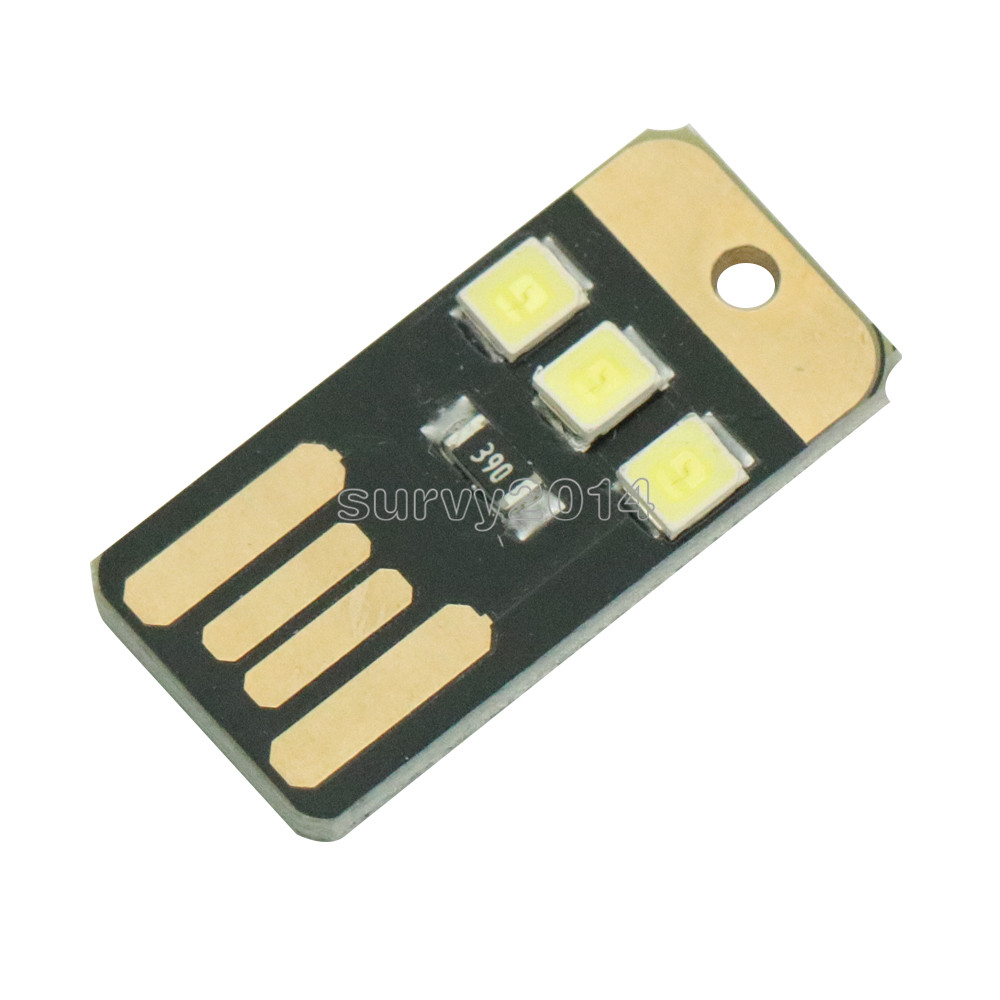 10PCS Mini Night USB LED Keychain Portable Power  Board Pocket Card Lamp Bulb LED