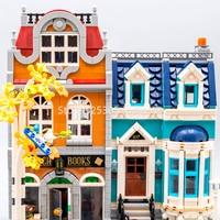 In stock 10201 City Street View Bookshop 2524Pcs Creator Model Building Kits Blocks Bricks Toys Children Gift Compatible 10270