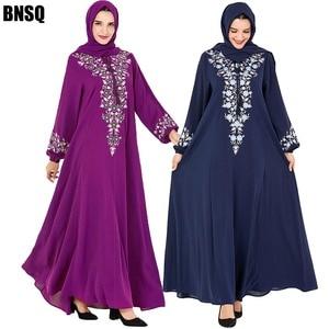 Image 2 - BNSQ Fashion Women Muslim Dress Abaya Islamic Clothing Malaysia Jilbab Djellaba Robe Musulmane Embroidery Maxi Dress Plus Size