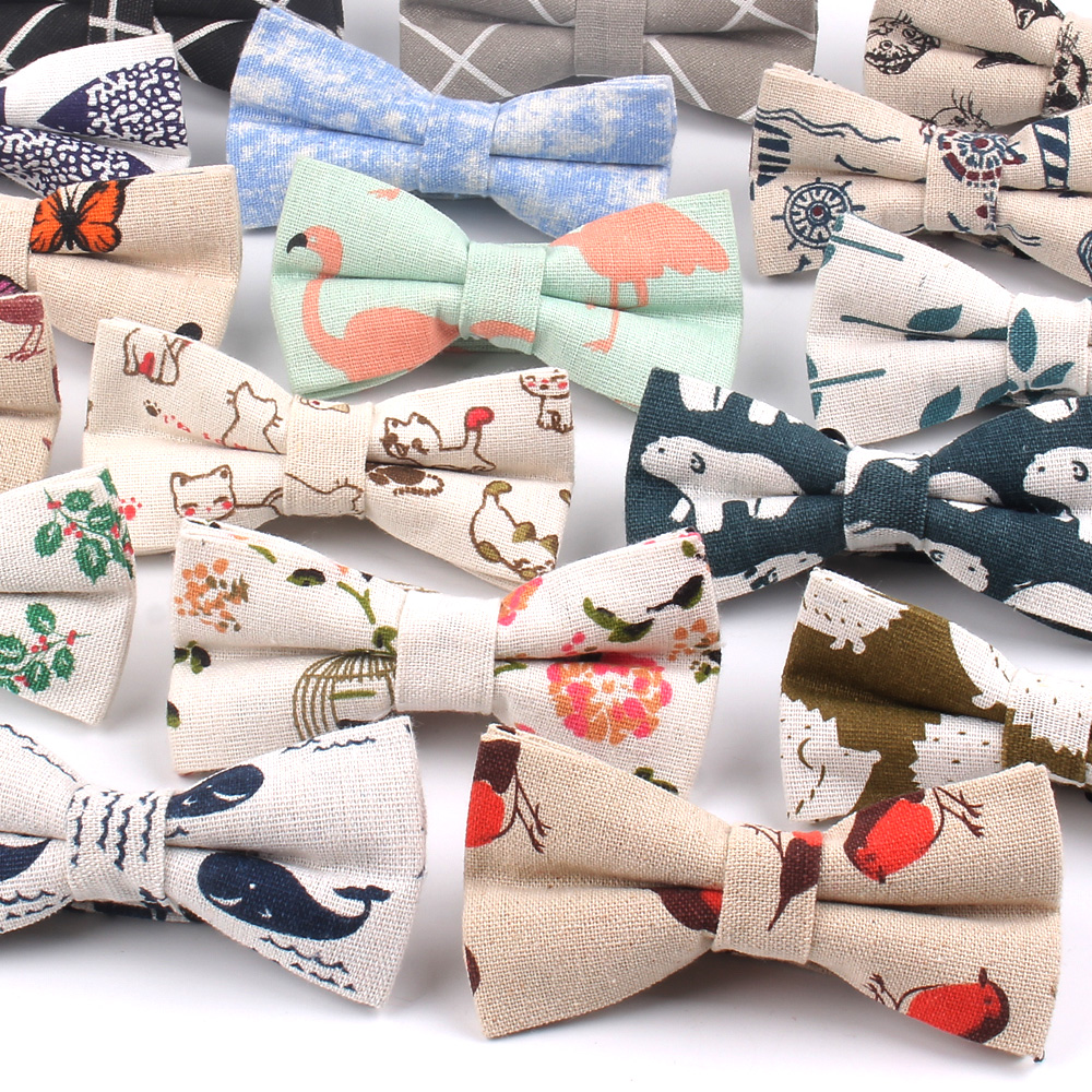 Brand Formal Linen Cotton Bow Tie For Men Butterfly Cravat Bowtie Tuxedo Adjustable Bows Groom Wedding Party Bowties Accessories