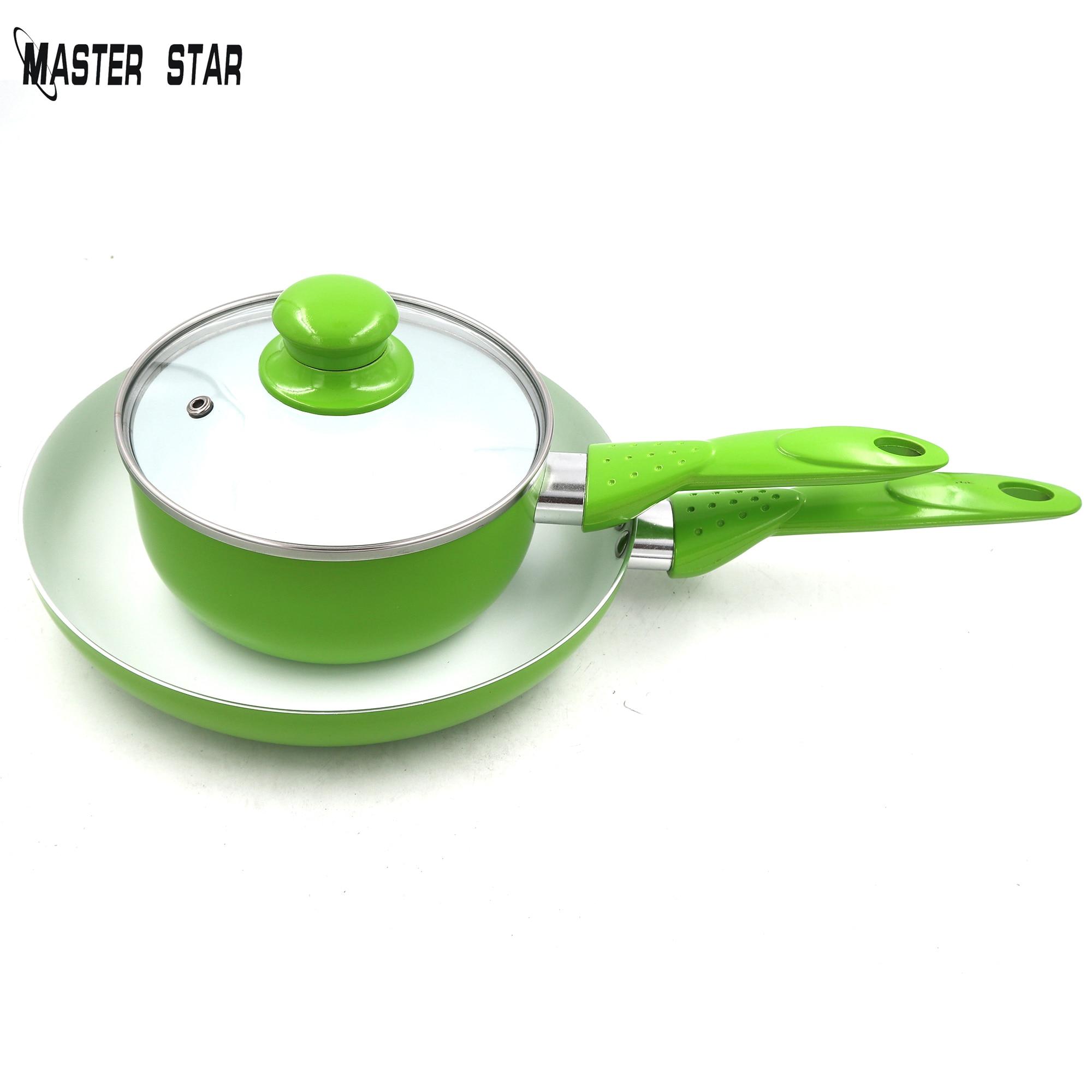 Master Star ensemble de poêles | Pommes vertes, casserole petit déjeuner Omelette 24cm poêle à frire, ustensiles de cuisine pour enfants avec Pot de soupe de 16cm