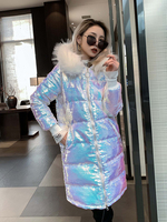 Winter Thick Laser Sympony Hologram Long Coat Metallic Glitter Colorful Heavy Fur Hooded Jacket Cotton Blended