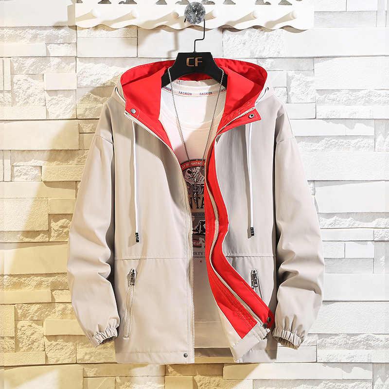 新ジャケットコートファッションヒップホップウインドブレーカーコートカジュアルルースフード付きメンズ貨物ボンバージャケットとコート生き抜くストリート