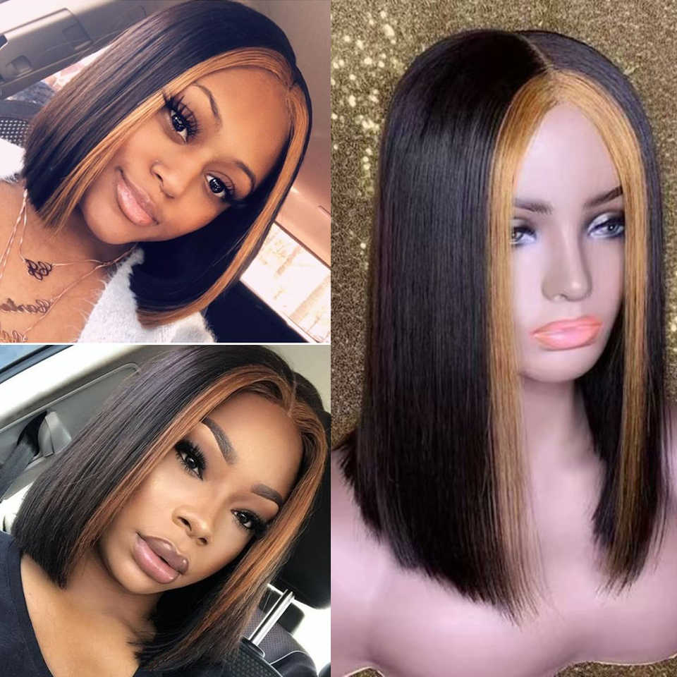 Peluca con malla frontal brasileña recta de 13x6 Ombre rubio miel resaltar 1b 27 pelucas de cabello humano frontal de encaje de colores para mujeres peluca BOB