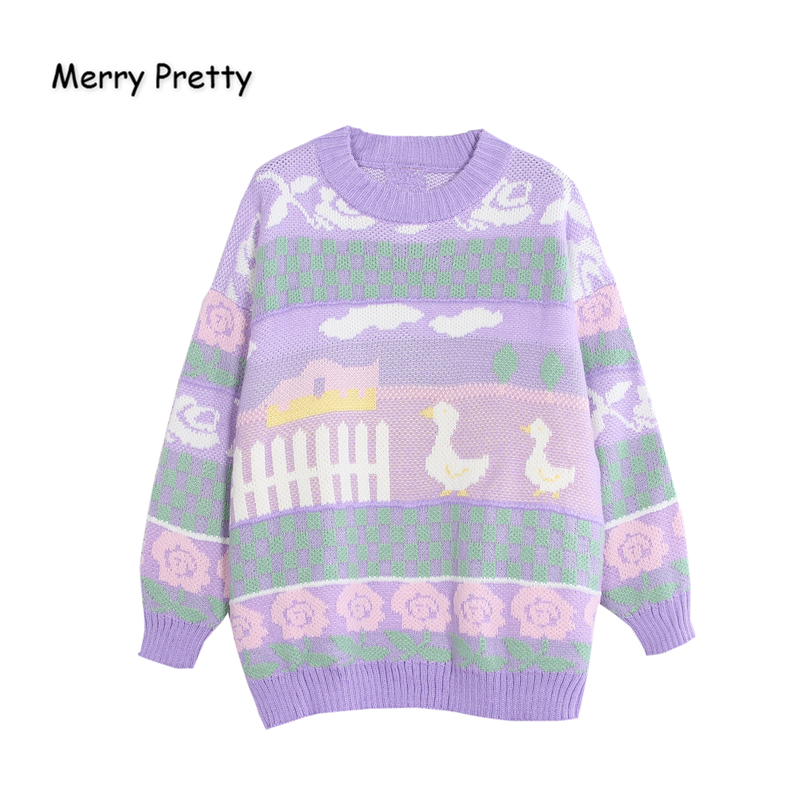 MERRY PRETTY Cartoon Duck Embroidery Knitted Sweaters 2019 Winter Thick Warm Harajuku Jacquard Sweater Women Femmf Knit Pullover