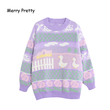 MERRY PRETTY Cartoon Duck Embroidery Knitted Sweaters 2020 Winter Thick Warm Harajuku Jacquard Sweater Women Femmf Knit Pullover