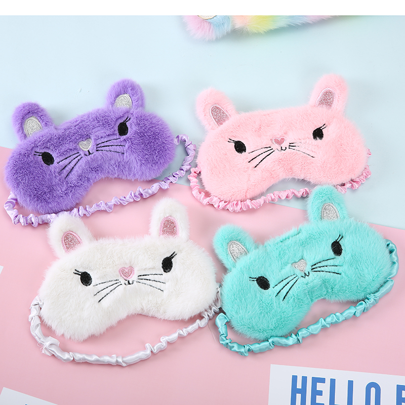 Sleeping Mask Eyepatch Eye Cover Plush Creative Lovely Cat Cartoon For Eye Travel Sleeping Eye Patch Shading Eye Mask