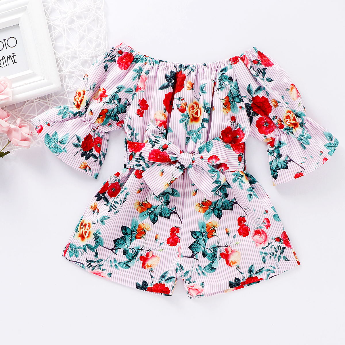 Emmababy Toddler Baby Girl Clothes Summer Off Shoulder Flower Print Short Sleeve Romper Jumpsuit One-Piece Outfit Summer Clothes