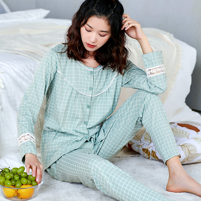Image 5 - 100% Cotton Pajamas Women PJ 2 Pieces Lounge Sleepwear Bedgown for Ladies 2019 Pink Nightgown Home Clothes Pure Cotton Pajamas-in Pajama Sets from Underwear & Sleepwears