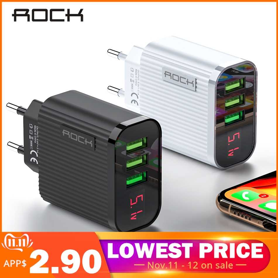 Rock Digital Display Phone Charger 3 Port USB 3A Max Smart Fast Charger Travel Charger Dinding USB untuk Iphone Samsung xiaomi