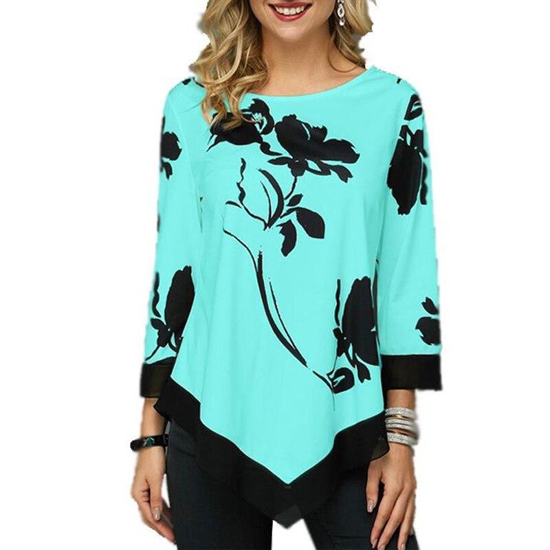 Women Blouse Shirt Spring Autumn Printing O-neck Blouse Long Sleeve Casual Hem Irregularity Female Fashion Shirt Tops Plus Size