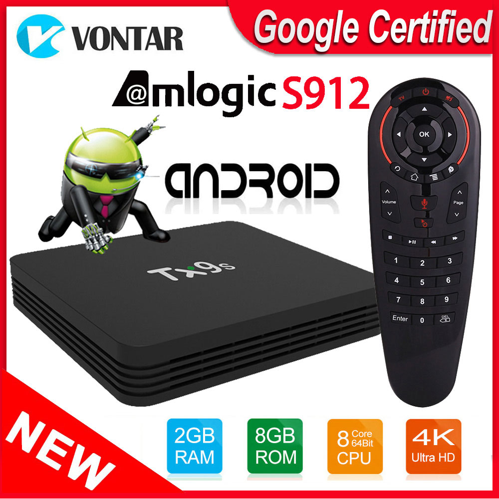 Android TV Box TX9S TVbox Amlogic S912 Octa Core 2GB 8GB 4K 60fps Smart Set Top Box 2.4GHz Wifi Support Netflix Youtube Google