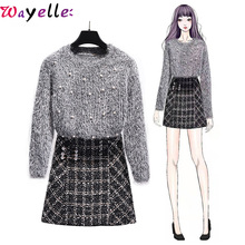 Korean Women Two Piece Outfits Autumn Winter Casual Fashion O-neck Beading Sweaters+ Pearls Plaid Skirt Office Lady 2 Set