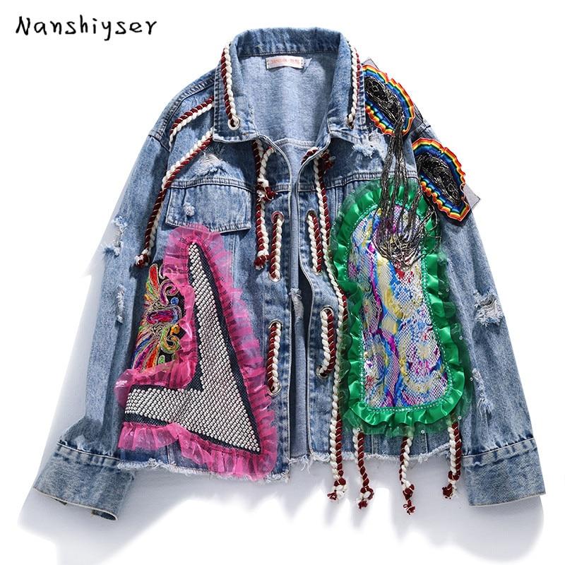 Autumn Loose Heavy work Diamond Lace splice Women Denim Jacket Streetwear  Tassel Hole Bomber Jacket Jaqueta feminina Female Coat|Jackets| - AliExpress