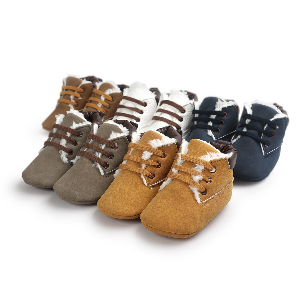 Baby Shoes Newborn Infant Boy Girl Winter Warm Fluff Martin Leather Soft Lace-up Toddler Crib Crawl Shoes Casual Moccasins