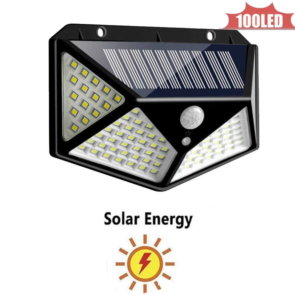Solar Light 100 Led Garden Wall Lamp PIR Sensor Motion 4 Modes Emergency With Adjustable Pole For Outdoor Lighting Exterior 4 Si