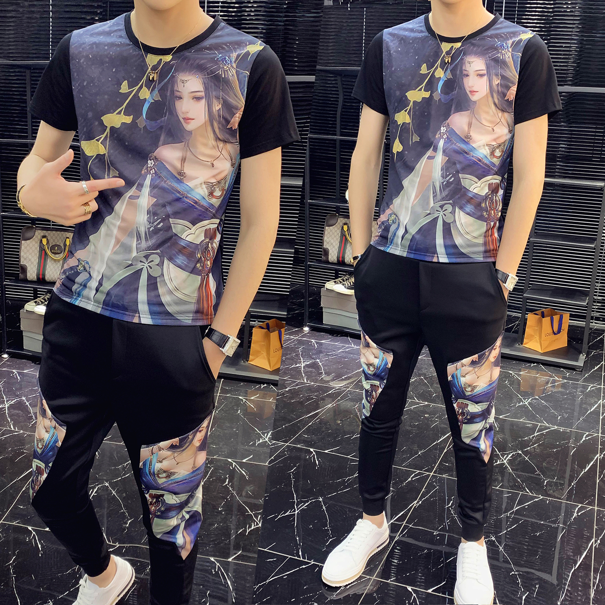 2020 Spring High Quality Tracksuit Top And Pants Men Printing Short Sleeve T Shirt Two Piece Set Men Slim Fit Outfits Men Set