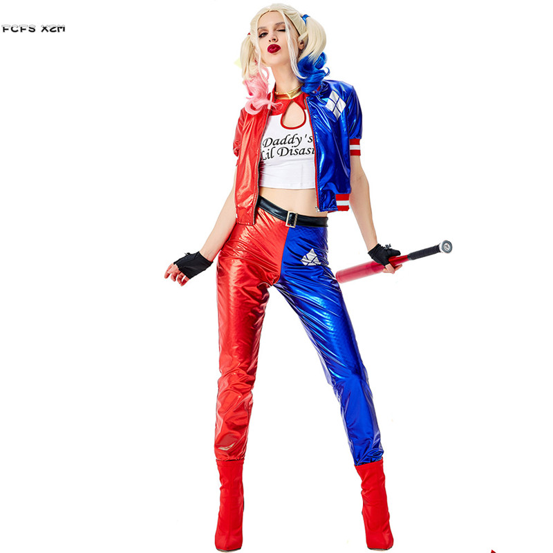 S-XXL Women Halloween Circus Clown Droll Joker Costumes Female Suicide Squad Harley Quinn Cosplay Carnival Purim Bar Party Dress