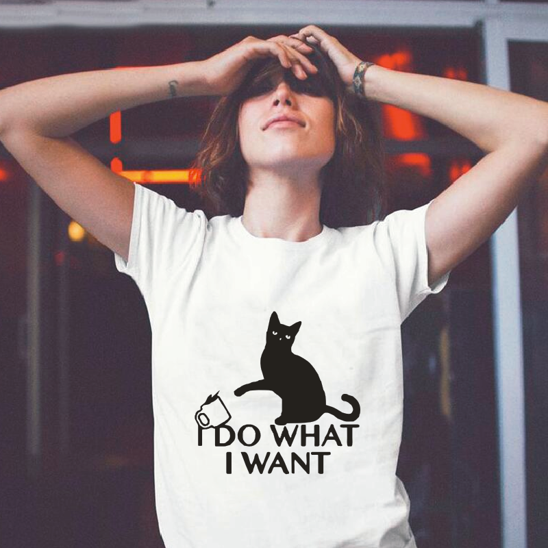 I Do What I Want Cat Lovers Saying Print Women's T-shirt Summer Harajuku Cotton Tees Funny Casual Round Neck Plus Size T-shirts