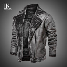 Veste de moto épaisse et chaude pour homme, manteau en cuir coupe-vent à la mode, col en fausse fourrure, hiver 2020
